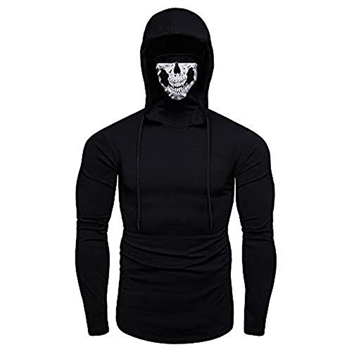 Price comparison product image Pocciol 2019 Mens Cotton Blend Hoodie,  Funny Mask Skull Hooded Long Sleeve Pullover Sweatshirt Blouse Tops (Black,  L)