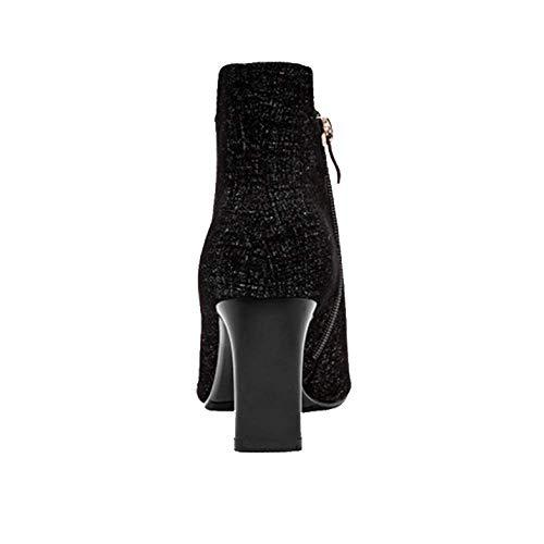 Élégant Pointu Portable Chaussons Éclair Black Zqzq Fermeture Sauvage qOXgT5w