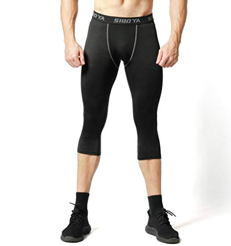 Siboya Men's Compression 3/4 Capri Shorts 2 Pack Baselayer Cool Dry Tights Running Pants (Black2, XX - http://coolthings.us