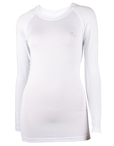 Xprin A100 Series Women's Long Sleeve Cool Base Layer Compression Shirt Sports Wear (S, A102 WHITE) by XPRIN (Image #1)