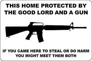 (BESTWD Aluminum This Home Protected by Good Lord and A Gun AR-15 8x12 Metal Sign S147 Business, Nostalgic, Retro, Vintage and Funny Signs )