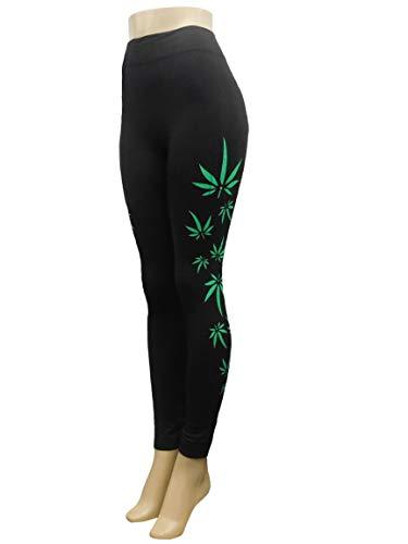 ercise Yoga Leggings - Casual Leggings - Weed Leaf Print Design Black Leggings 420 Theme Free Size ()