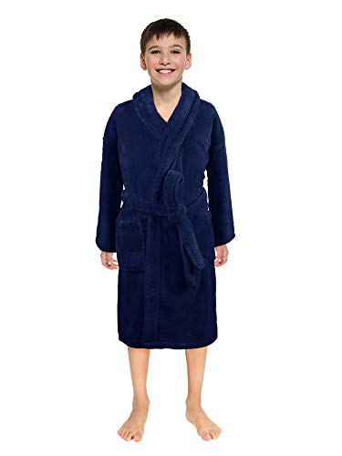 Ultra-Soft Plush Shawl Robes for Boys and Girls (Navy, Large)