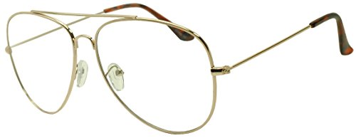 Sunglass Stop - Round Gold Metal Aviator Clear Lens Glasses (Gold , 60)