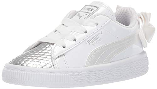 PUMA Girls' Basket Bow Sneaker White- Silver 4 M US Toddler ()
