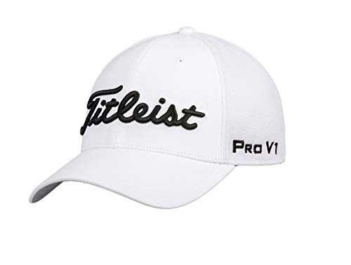 Titleist Men's Tour Sports Mesh Golf Hat, White/Black L/XL
