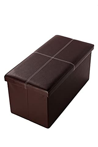 Faux, Folding, Wooden, Leather, Storage, Ottoman With Contrast Stitch Design, Brown, 30 x 15 x 15 Inches