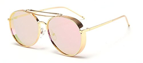 Flowertree Metal Ornamental Side Shield Round Sunglasses - Glasses Sides With Gold