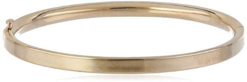 (Girls' 14k Yellow Gold Polished Hinged Bangle Bracelet)