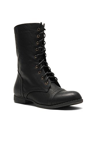 Herstyle Korraa-2 Military Lace up Combat Boots Black bmYDiXbb