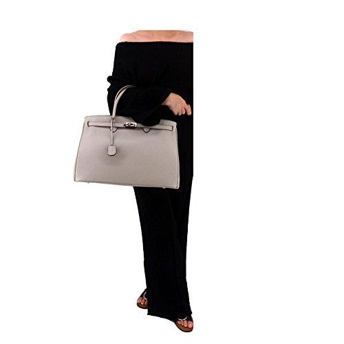 ROUVEN Dove argento chiaro grigio Silver Grey & Silver ICONE 40 CITY Tote Bag Borsa delle signore di sacchetto di cuoio della borsa nobile moderno minimal chic NUOVO DESIGN (40x28x19cm)