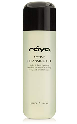 RAYA Active Facial Cleansing Gel with AHA and BHA 8 oz (G-107)   Oil-Free and Exfoliating Deep Pore Gel Cleanser for Oily and Break-Out Skin   Made with Alpha and Beta Hydroxy Acids (Face Active Men Wash)