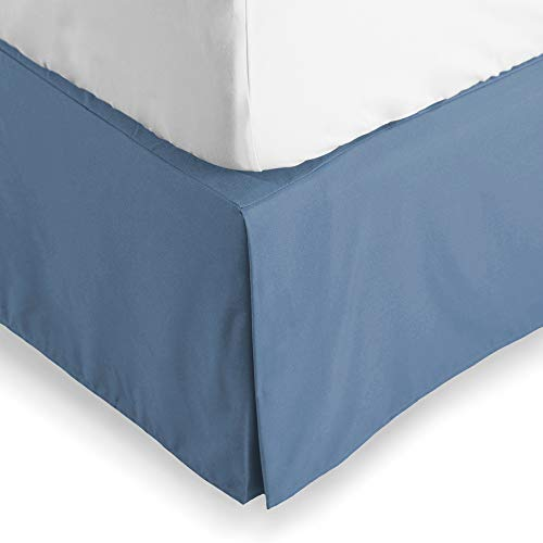 Bare Home Bed Skirt Double Brushed Premium Microfiber, 15-Inch Tailored Drop Pleated Dust Ruffle, 1800 Ultra-Soft, Shrink and Fade Resistant (Queen, Coronet Blue) ()