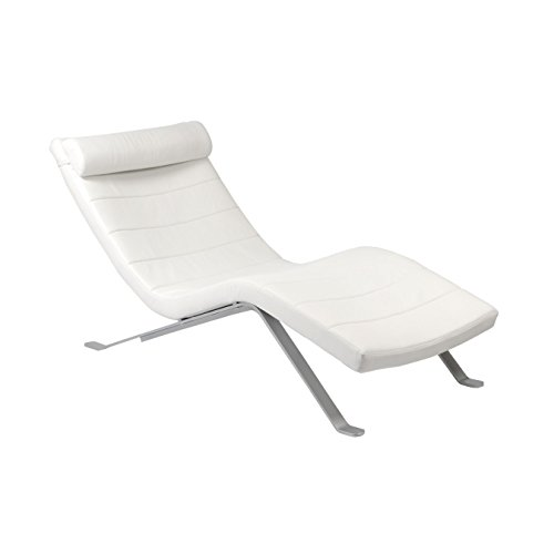 Eurø Style Gilda Leatherette Chaise Lounge Chair with Shiny Base, White (Euro Leather Chair Style)
