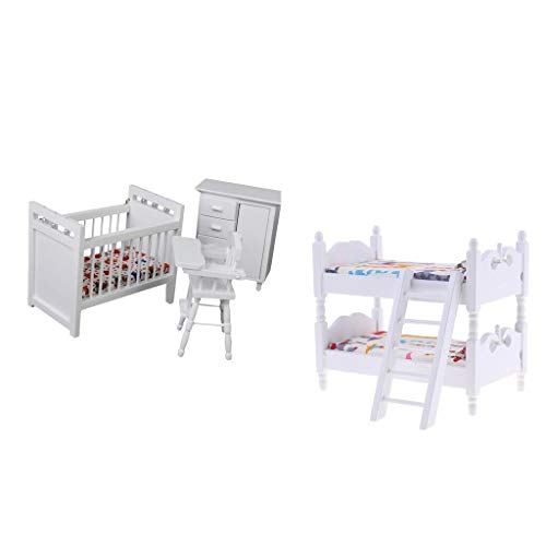 NATFUR Lovely Doll House Furniture Wooden Bunk Bed Nursery Cradle for 1:12 4pcs -