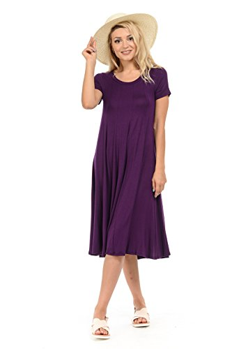 iconic luxe Women's Short Sleeve A-Line Trapeze Midi Dress Large Eggplant