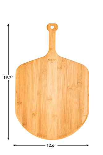 - Fiery Chef Eco-friendly Multi-purpose Premium Natural Bamboo Pizza Peel - Paddle for Homemade Pizza and Bread Baking 12.6 x 13.8 inch Blade, 19.7 inch overall
