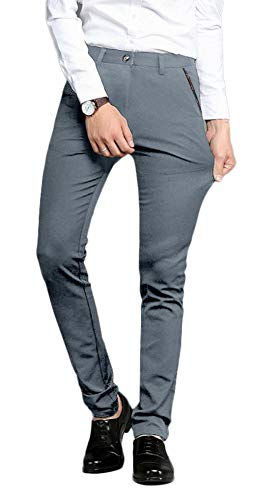 Plaid&Plain Men's Stretch Dress Pants Slim Fit Skinny Suit Pants 7104 Grey 31W32L ()