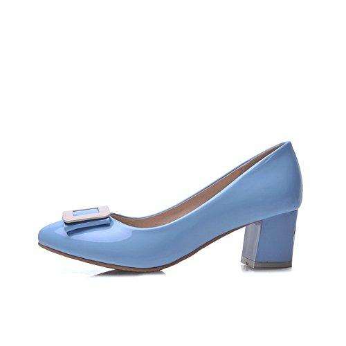 e8f6e7b22d07f2 AgooLar Damen Mittler Absatz Lackleder Rein Ziehen auf Spitz Schließen Zehe  Pumps Schuhe Himmelblau ...