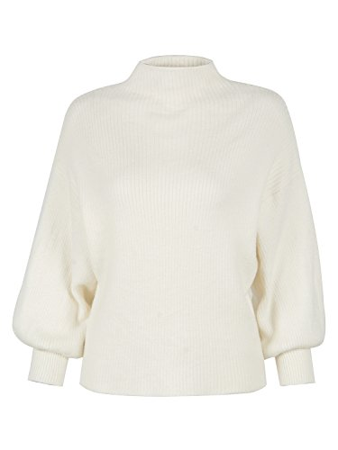PERSUN Women's White Turtleneck Long Puff Sleeve Loose Knit Pullover Sweater Jumper Top,OneSize ()