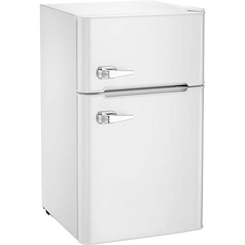 Kismile Compact Refrigerator, 2 Door Refrigerator and Freezer, Dorm or Apartment, 3.3 cu ft, White