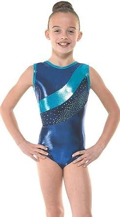 Traje de gimnasia rítmica para niña con terciopelo azul y ...