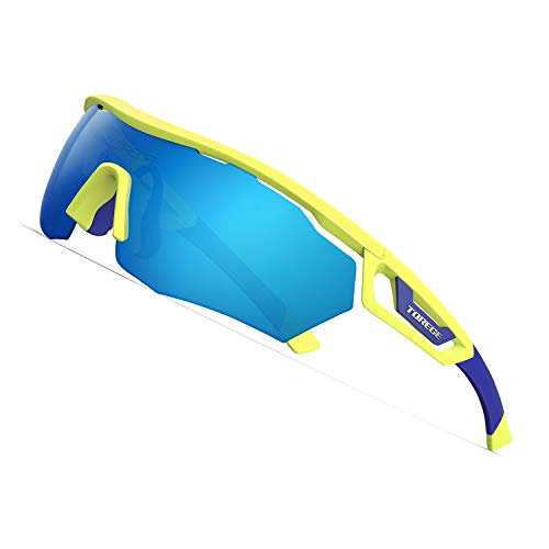 TOREGE Polarized Sports Sunglasses with 3 Interchangeable Lenes for Men Women Cycling Running Driving Fishing Golf Baseball Glasses TR05 (Matte Fluorescent Yellow&Blue&Blue -