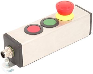 Mazo 23.001.592 botón de emergencia y 2 botones, en bestücktem Caja de acero inoxidable con M12 de conector de 8 pines para montaje de perfil, Metálico: Amazon.es: Industria, empresas y ciencia