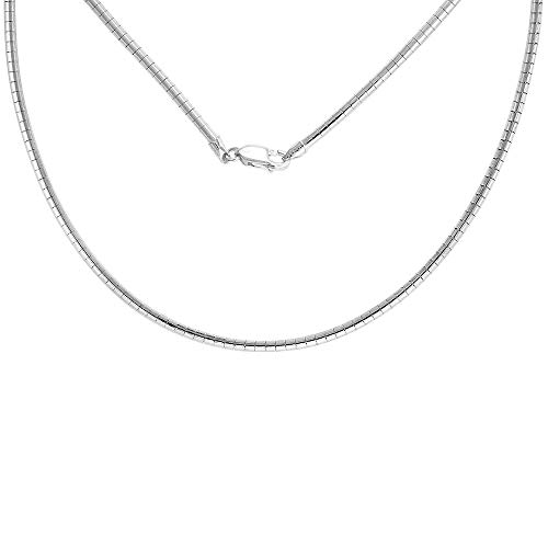 Sterling Silver 3mm Round Omega Necklace for Women Nickel Free Italy 1/16 inch Wide, 16 inch ()