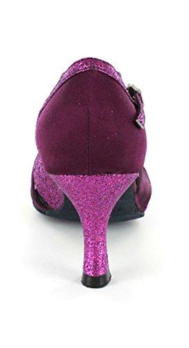 Tda Femmes Cut-out Satin Élégant Satin Chaussures De Danse Latine Sandales Confortables Violet