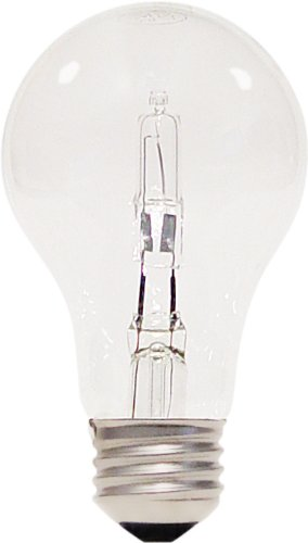 Clear Halogen Light Bulb (Satco S2403 53 Watt (75 Watt) 1050 Lumens A19 Halogen Warm White 2900K Clear Light Bulb, 2-Pack)