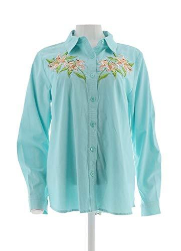 Bob Mackie Clothes - Bob Mackie Floral Embroidered Shirt Aqua M New A288447