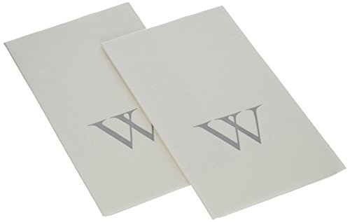 Caspari Entertaining Paper Linen Guest Towels (Box of 24), Silver Initial W, White Pearl (Monogrammed Guest Paper Towels)