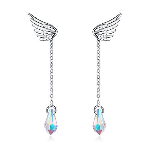 Angel Wing Hypoallergenic Sterling Silver Dangle Jacket Earrings for Women Girls Ear Nail Cubic Zirconia Stud Earrings Removable AB Tear Drop Crystal from Swarovski