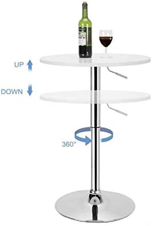 Plata Import SetStoolsyBarT6 Carol Modern Bar Set White Adjustable Bar Table with 2 Upholested Bar Stools in Grey