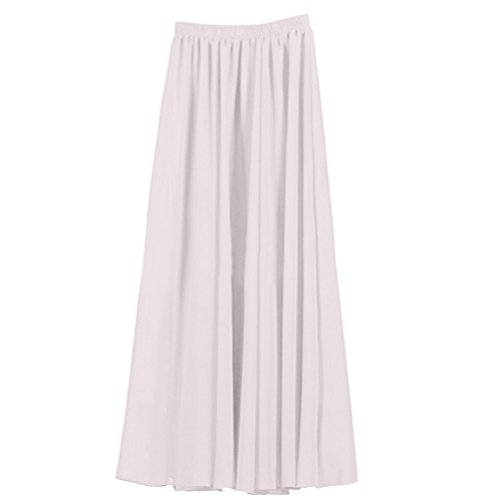 Ezcosplay Women's Double Layer Retro Chiffon Long Skirt Elastic Waist Boho Skirt -