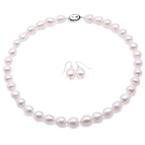 JYX Pearl Neckalce 10-11mm White Rice-Shaped Freshwater Pearl Necklace and Earrings Set