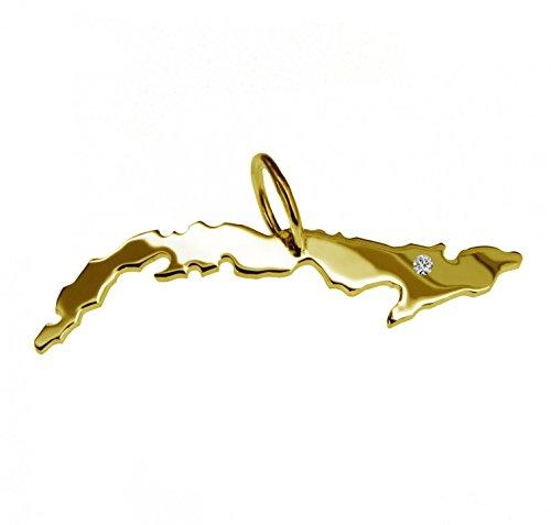 Cuba avec un pendentif brillant 0,015ct sur votre wunschort en or jaune 585