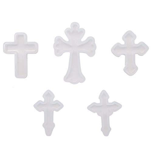 (JETEHO Pack of 5 Pieces Cross Shape Silicone Pendant DIY Molds Resin Casting Silicone Molds Set for DIY Pendant Crafts Jewelry Making)