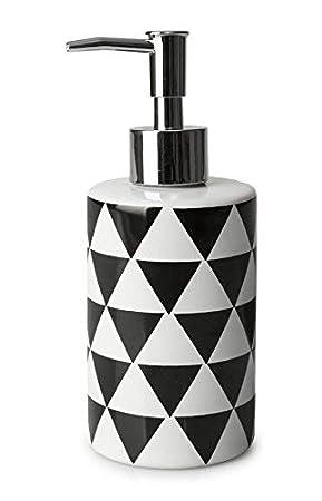 Moderno de Lujo Geo Porcelana Acero Inoxidable Baño Dispensador Jabón Negro Blanco Marfil: Amazon.es: Jardín