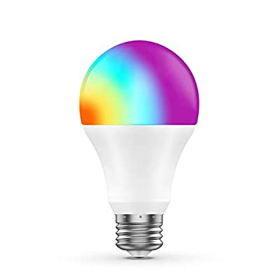 Smart LED Bulb A19 800Lum WiFi Multicolor Dimmable Light Bulb Compatible with Alexa Echo, Google Home & IFTTT, No Hub Required, Gosund 75W Equivalent (8W), 1 Pack