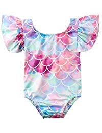 Infant Toddler Baby Girls colorful Fish Scale Mermaid Ruffles Sleeve One-Piece Swimwear Swimsuit Bathing Suit For 0-4T (18-24 Months)