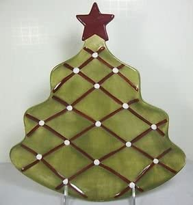 Amazon Com Pottery Barn Seasons Greetings Christmas Tree Shaped Plate See Cond For Star Color Everything Else