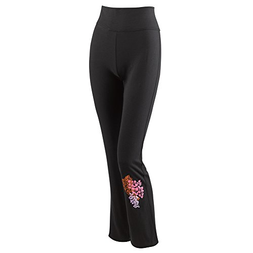 Women's Yoga Pants - Island Floral Print High Waist Wide Leg - Black - Xxl