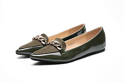 Mila Lady Arlene Stylish Patent Leather Pointed Toe Comfort Slip On Ballet Dress Flats Shoes for Women,Olive 6 ()