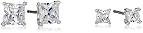 Sterling Silver AAA Cubic Zirconia 3 mm and 5 mm Square Stud Earrings