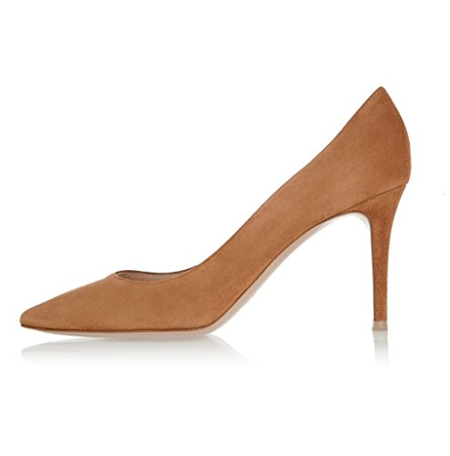 EDEFS Damen High Heels Klassische Pumps Geschlossene Spitze Zehen Übergröße Schuhe 8cm Absatz Brown