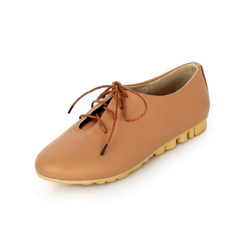 VogueZone009 Girls Closed Round Toe Low Heel PU Soft Material Solid Pumps with Bandage Brown EwHCi2wjY