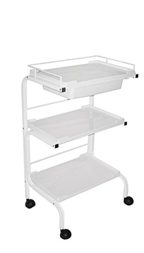 Three Level Spa Plastic Cart with Expandable Tray with Metal Frame Trolley