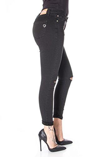 Stretch P19 P19ieg550 Chino Skinny Pantaloni Please Nero Strappato Donna Owa6aS